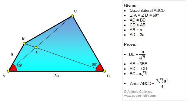 Geometry Problem 1230: Quadrilateral, 60 Degrees, Congruence, Metric Relations.