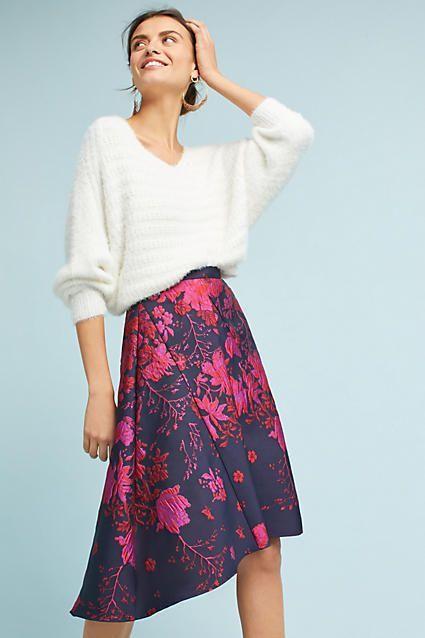 Eva Franco Jacquard Asymmetrical Skirt #AnthroFave