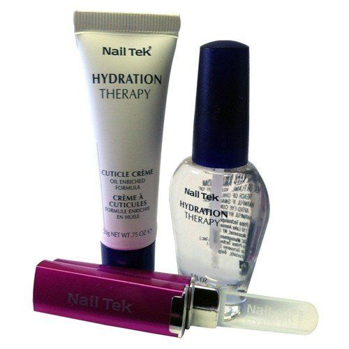 NAIL TEK Hydration Therapy Home Therapy Kit - Formula IV by Nail Tek. $35.89. Nail Tek Hydration Therapy Home Therapy Kit - Formula IV includes:  Hydration Therapy Strengthener  IV - 0.5 oz - Strengthens without drying. Incorporates pure water maintain natural moisture balance within the nail and nail bed. This exclusive hydrating formulation contains Pentavitin, a unique 'water magnet molecule which prevents moisture loss. It also accelerates growth to strengthen and protect t...