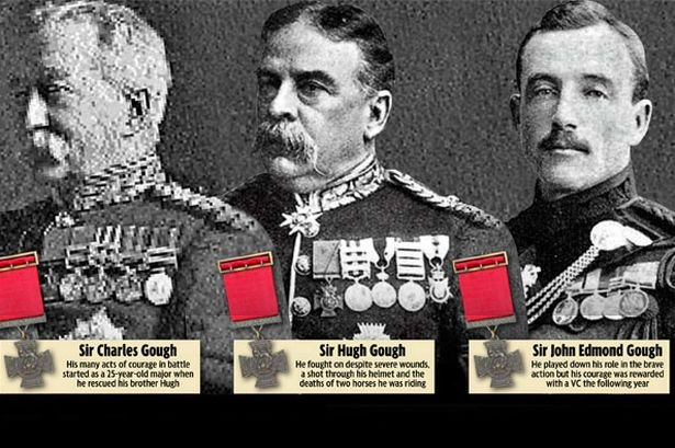 Sir Charles, Sir Hugh and Sir John Gough. The only family to be awarded 3 VC's between them. Charles and Hugh are brothers and John is the son of Charles.