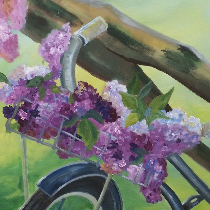 "Lilacs in Bicycle Basket Acrylic on 16 x 20"" canvas By C. Archer"