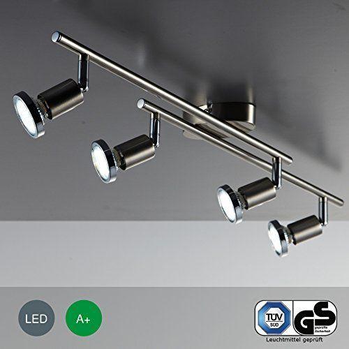 Moderne 4 spot GU10 Plafonnier, Rail ou Applique. Deux Rails Mobiles. Finition en Chrome Polis