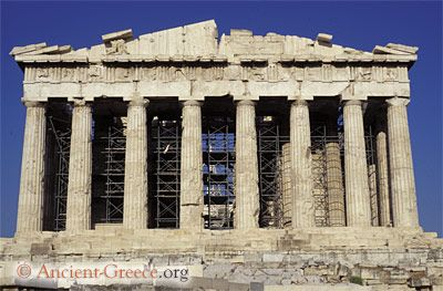 The classical Parthenon was constructed between 447-432 BCE to be the focus of the Acropolis building complex.