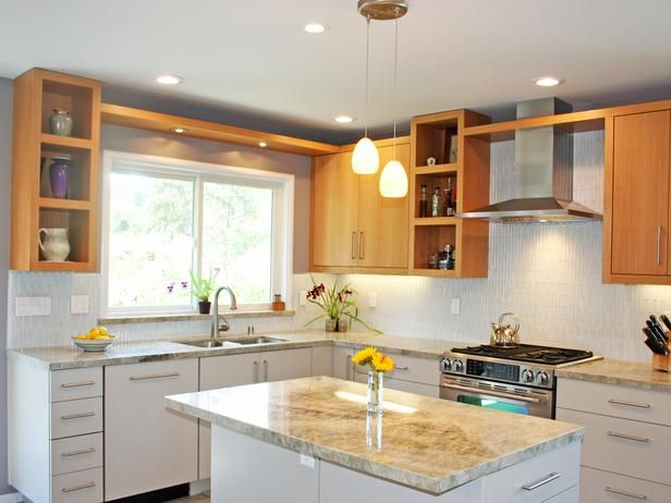 Contemporary Kitchens from Catherine Nakahara on HGTV interesting mix of cabinet colors and open & solid doors/ bridge over window