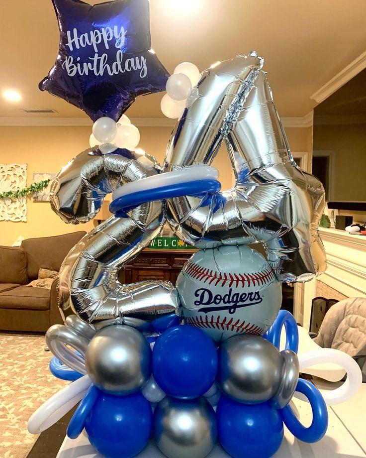 "Serena Moreno on Instagram: ""Dodger Balloon Bouquet💙⚾️ #balloonbouquet #dodgerballoon #dodgerballoonbouquet #birthdayballoons #balloons #balloonstylist"""