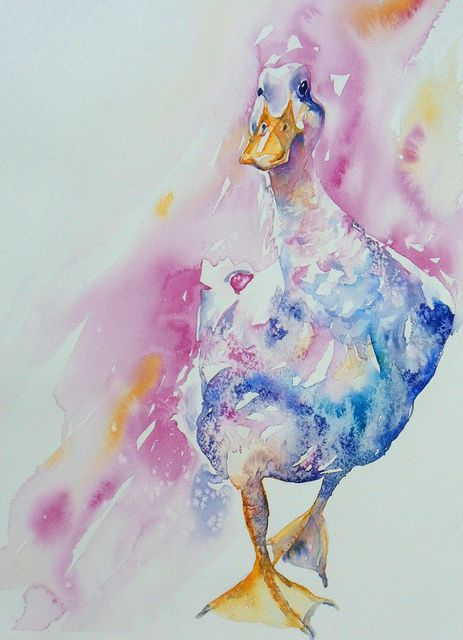 Watercolour on paper 30x40cm. I loved the swagger of this duck and decided to paint him (it must be a him, I am sure). He came together really quickly. Why can I paint a duck and be happy and struggle with blackberries? (see previous pic)