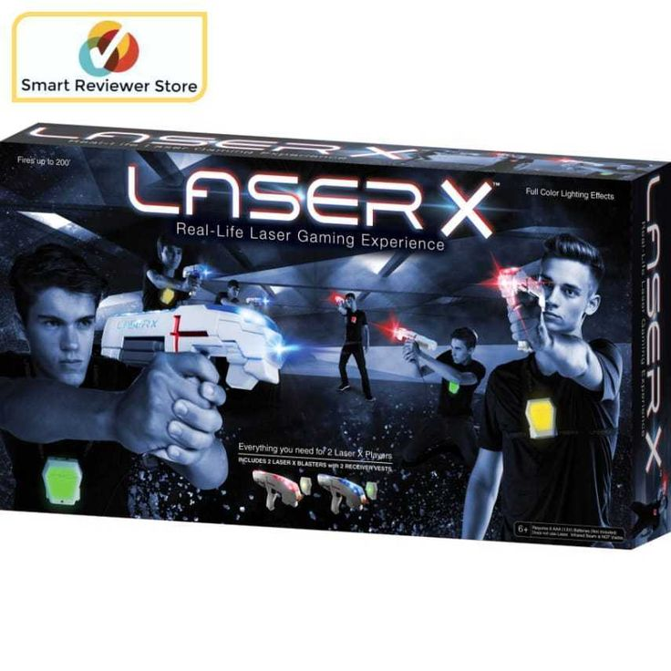 Laser Tag Set Double Laser X Players 2 blasters Real Life Gaming Color Lighting Laser X - Double Toys Outdoor Play NERF Blaster ToysLaser X is a Real Life Laser Gaming Experience. Set includes everything you need for 2 Laser X players. Blast your opponents Receiver Vest from up to 200 away. Full Color Lighting Effects let you keep track of shots and hits. Interactive voice coach gives tips feedback during the game. Plug in headphones and hear the Laser X Soundtrack and Sound Effects…