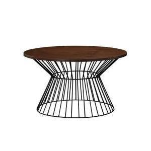 NINA Table basse ronde style contemporain en métal noir avec plateau plaqué hêtre - L 80 x l 80 cm