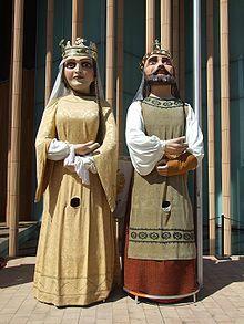 Comparsa de gigantes y cabezudos de Zaragoza. Gigantes El Rey y La Reina