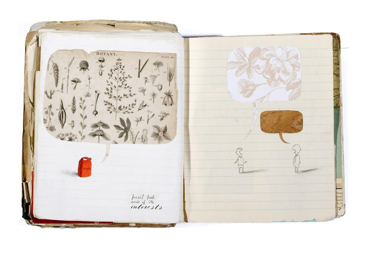 "OLIVER JEFFERS SKETCH BOOK ""fossil fuel speaks of it's interests"""