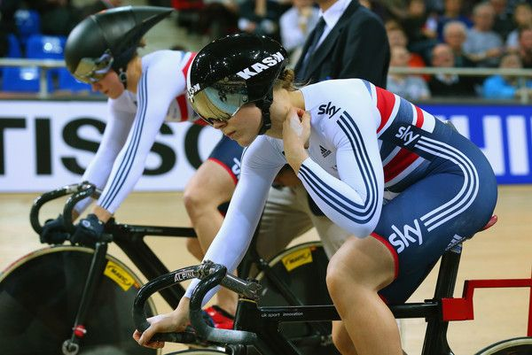 Victoria Williamson Photos - Jessica Varnish and Victoria Williamson of Great Britain Cycling Team prepare to start in the Women's Team Sprint qualifying round during day one of the UCI Track Cycling World Championships at the National Velodrome on February 18, 2015 in Paris, France. - UCI Track Cycling World Championships - Day One