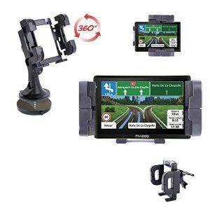 Support fixation voiture rotatif tableau de bord, grille d'aération et pare-brise compatible avec GPS Mappy Ulti 546 Europe, Ulti S547 FM…