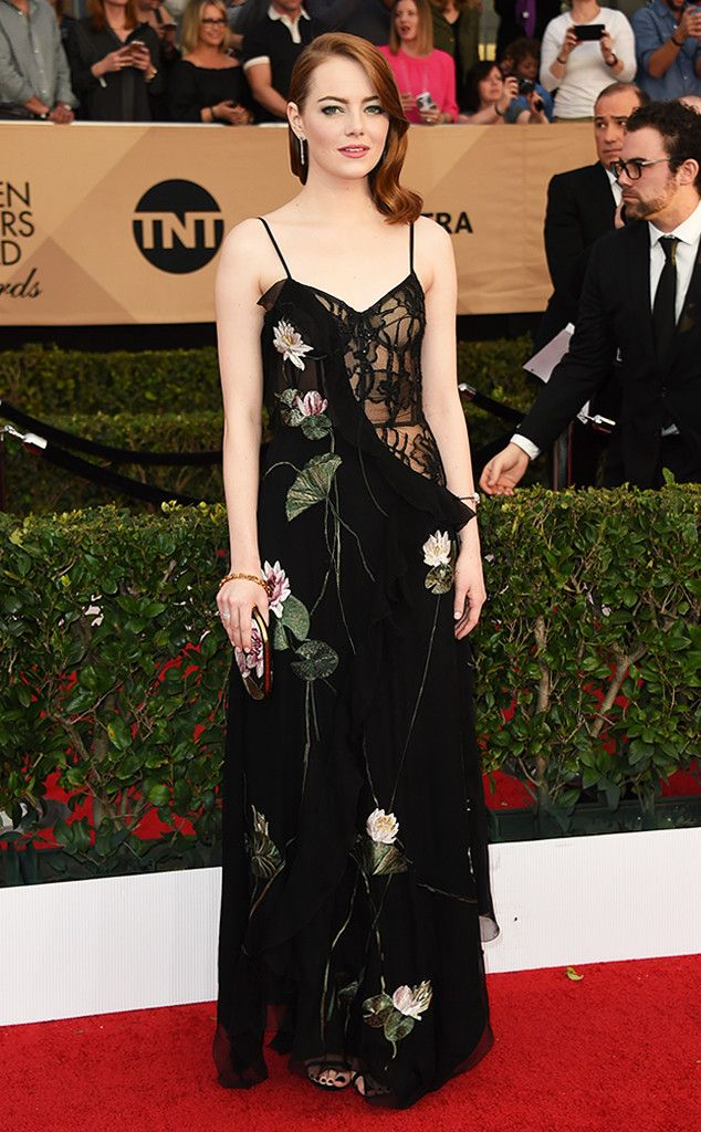 """Congrats to the stunning Emma Stone for winning Outstanding Performance by a Female Actor in a Leading Role for """"La La Land"""" at the 2017 SAG Awards!"""