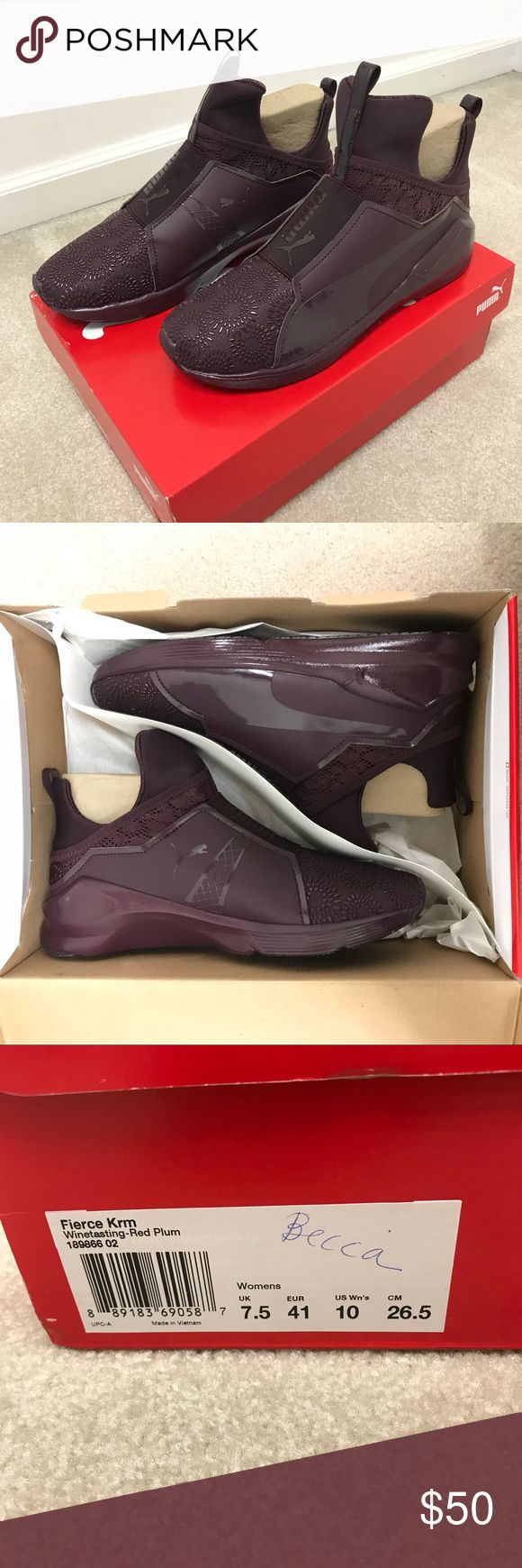 NWB NEVER WORN - PUMA FIERCE KRM Brand new Puma Fierce KRM shoes. Women's size 10. Color is Winetasting/Red Plum. Cross training shoe, but can easily be worn as a casual shoe as well. NO TRADES PLEASE Puma Shoes Sneakers