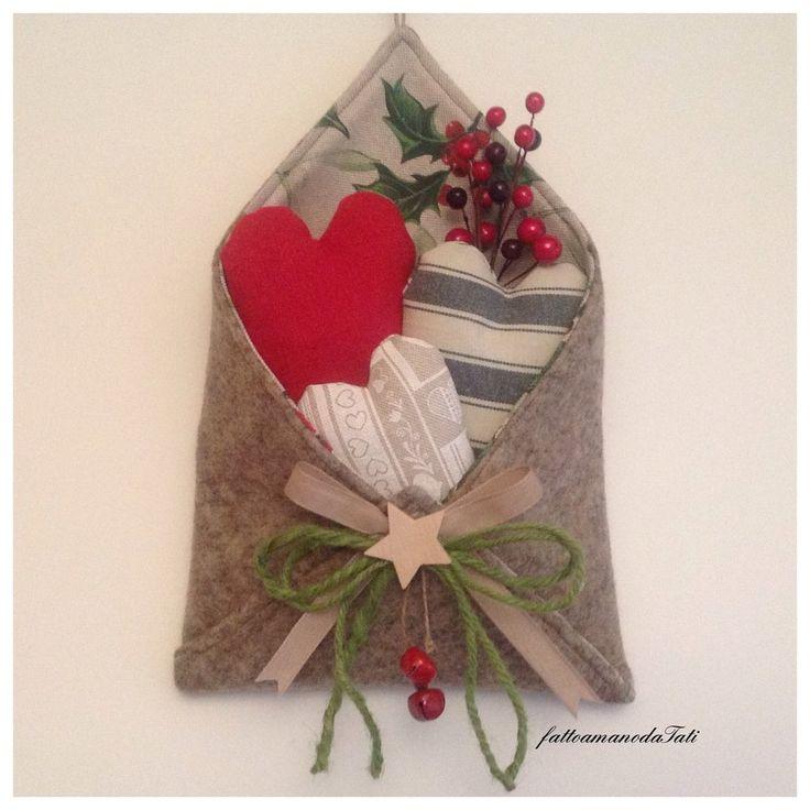 Busta in lana cotta love letter con cuori imbottitti , by fattoamanodaTati, 26,00 € su misshobby.com