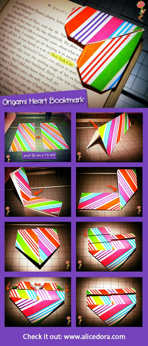 #Origami Heart #Bookmark #DIY,BOA MANEIRA DE PRA NÃO CRIAR ORELHAS NAS FOLHAS,E MARCADOR TAMBÉM