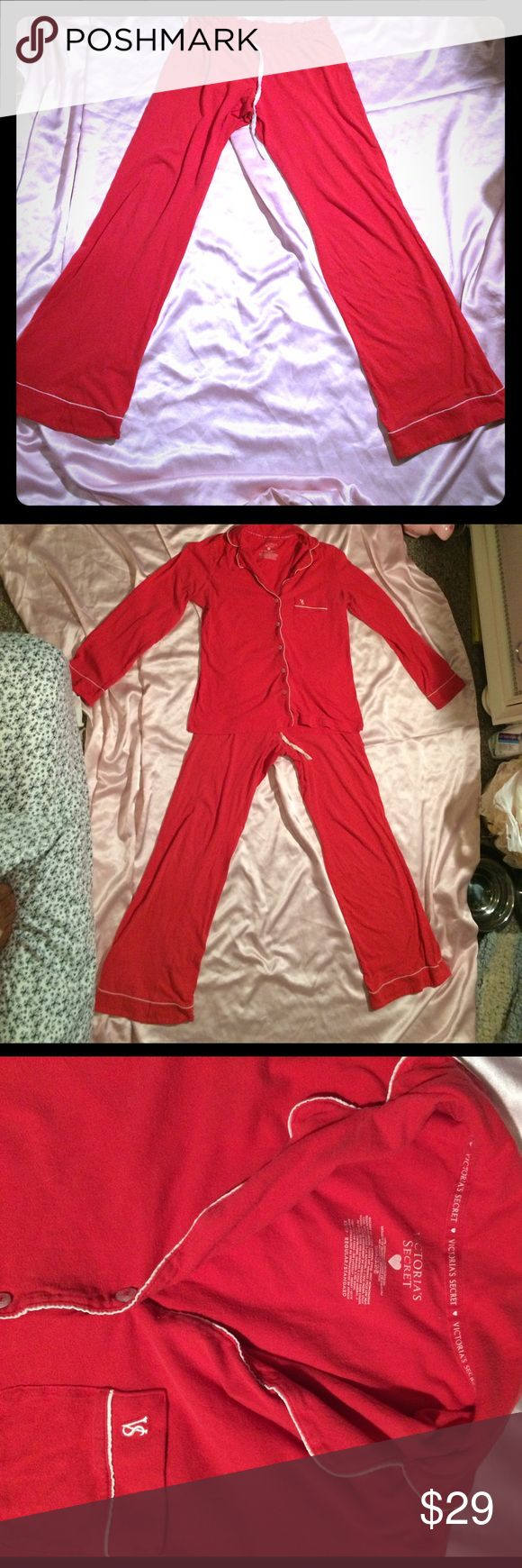 VS XS SLEEPOVER KNIT RED PJ SET Pre-owned condition.  Refer to last photo for tiny tear (can be stitched) & tiny stain. Price reflects. Victoria's Secret Intimates & Sleepwear Pajamas