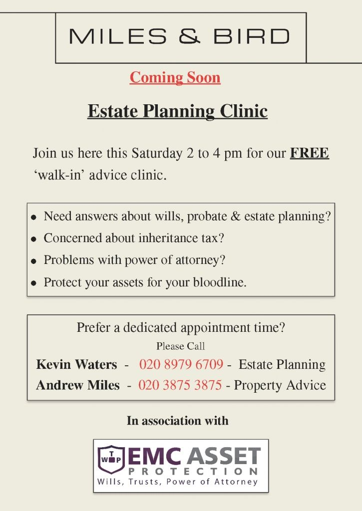 East Molesey Estate Planning Clinic at the Miles & Bird Offices October 2016