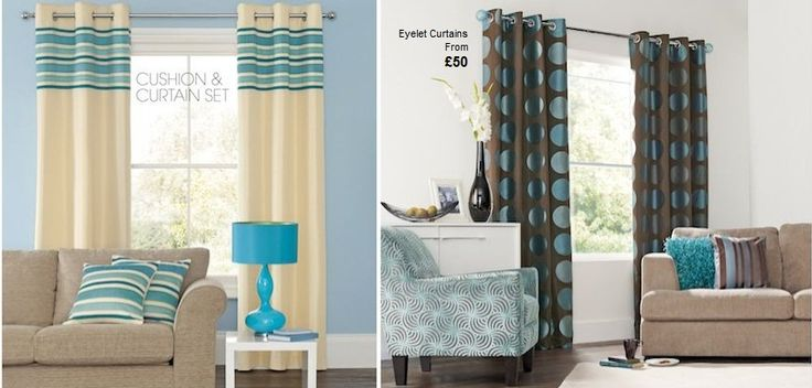 Teal Accented Rooms | cream, teal and brown curtains ...