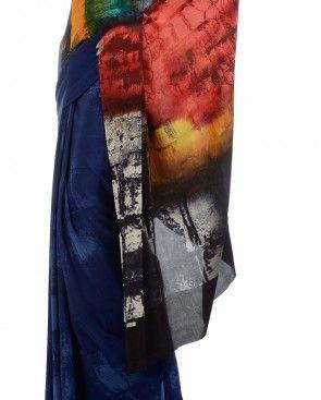 Deep Blue Digital Printed Sari