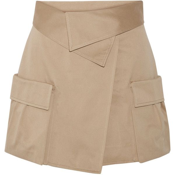 Monse Cotton-canvas wrap mini skirt ($620) ❤ liked on Polyvore featuring skirts, mini skirts, mushroom, mini skirt, beige skirt, short skirts, structured skirt and foldover skirts