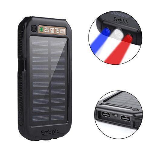 Solar Power Bank 10000mAh Solar Charger Waterproof Portable External Battery USB Charger Built in LED light with Compass for iPad iPhone Android Cellphones  https://topcellulardeals.com/product/solar-power-bank-10000mah-solar-charger-waterproof-portable-external-battery-usb-charger-built-in-led-light-with-compass-for-ipad-iphone-android-cellphones/  High Capacity: Built-in 10000mAh high capacity polymer battery equipped with a compact solar panel, which could recharge the bat