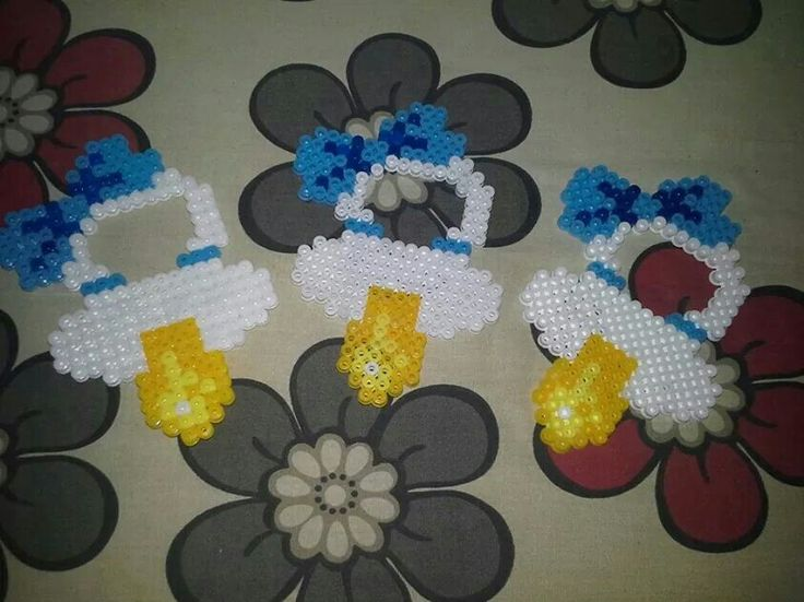 Baby pacifiers hama perler beads by Christina Ruskjær