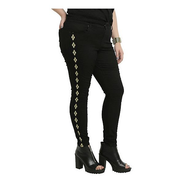 DC Comics Suicide Squad Harley Quinn Black Skinny Jeans Plus Size Hot... ($44) ❤ liked on Polyvore featuring jeans, skinny jeans, skinny leg jeans, womens plus size jeans, skinny fit jeans and denim skinny jeans