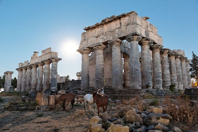 PILLARS OF POSSIBILITY  Horses wander freely around the 2,500-year-old Temple of Zeus at Cyrene, the only ancient Greek site among Libya's five World Heritage sites. Archaeologists are now documenting and preserving these once neglected ruins.  Photograph by George Steinmetz