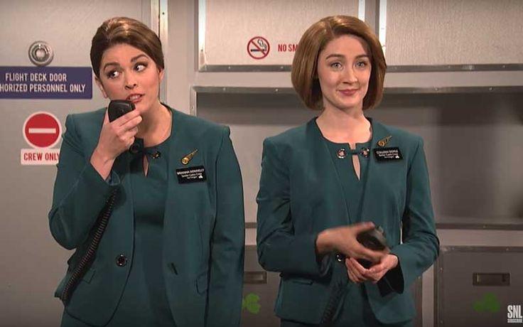 Irish actress Saoirse Ronan played an Aer Lingus flight attendant in an SNL skit satirizing the airline.