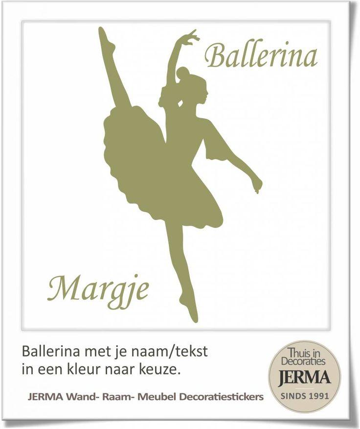 Ballerina met je naam en de kleur kies je zelf uit. Decoratiesticker voor op de wand, raam of misschien wel de kastdeur in je slaapkamer. Een eenvoudige manier om b.v. een saaie wand in je slaapkamer op een eenvoudig manier van een mooie decoratie.