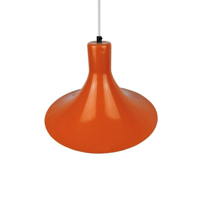Midcentury Danish Pendant Light in Orange 2
