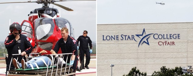 Life Flight personnel rush a victim wounded in a stabbing attack on the Lone Star community college. (AP Photo/Houston Chronicle, Johnny Hanson); A police helicopter circles above the Cy-Fair campus of Lone Star Community College in Cypress, Texas. (AP Photo/Houston Chronicle, Melissa Phillip)