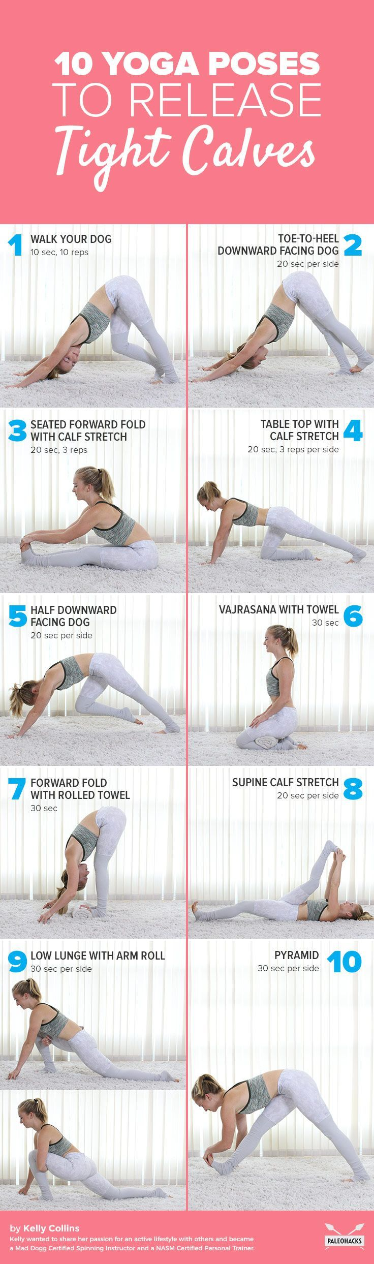 From walking and running to cycling and climbing, these your  calf muscles support your entire body and every day movement. If they're  feeling tight and causing pain, here are easy moves to loosen them up. Get the full yoga sequence here: http://paleo.co/yogatightcaves