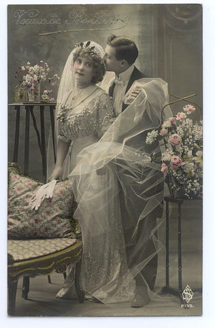 Bride and groom, c. 1905.