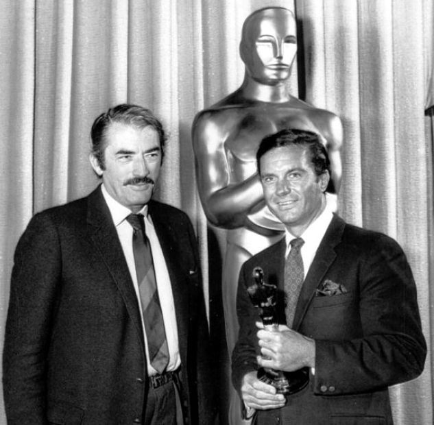 Cliff Robertson was unable to attend the Academy Awards the night he won the Oscar for Charly, so Academy president Gregory Peck handed him the trophy at a later date. June, 1969