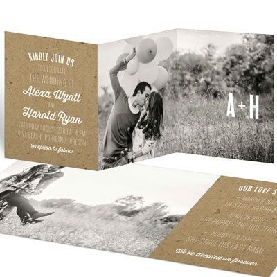 Take advantage of the kraft craze and use this go-with-everything look to create the wedding invitations and wedding theme of your dreams! http://www.peartreegreetings.com/Wedding/Wedding-Invitations/2775-27566FC-Kraft-Love--Wedding-Invitations.pro