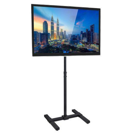 Mount-It! TV Floor Stand Portable TV Pedestal Display Fits LCD LED 13 to 42 inch Flat Panel Screens, Height Adjustable Pole, Vesa 75x75 - 200x200, 44 Lb Weight Limit (MI-878), Black