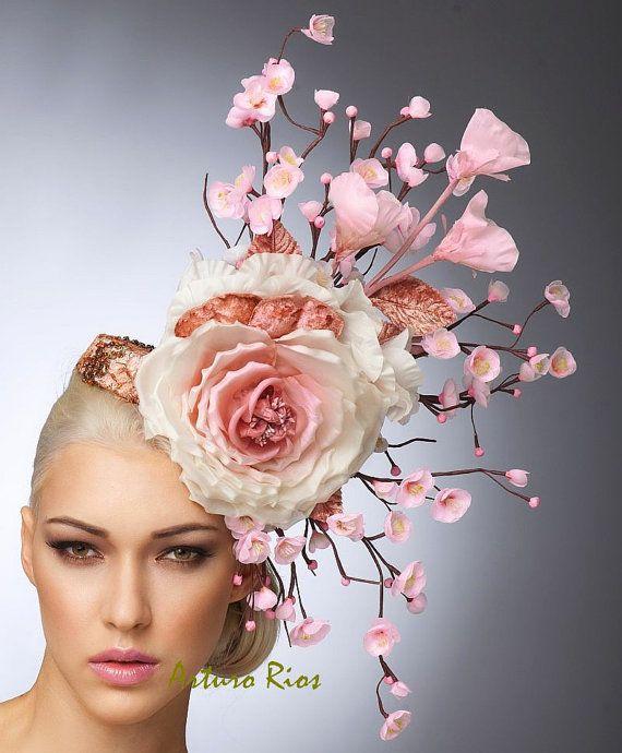 Rosa Cherry Blossom Fascinator Blush Headpiece Cocktail-Hut