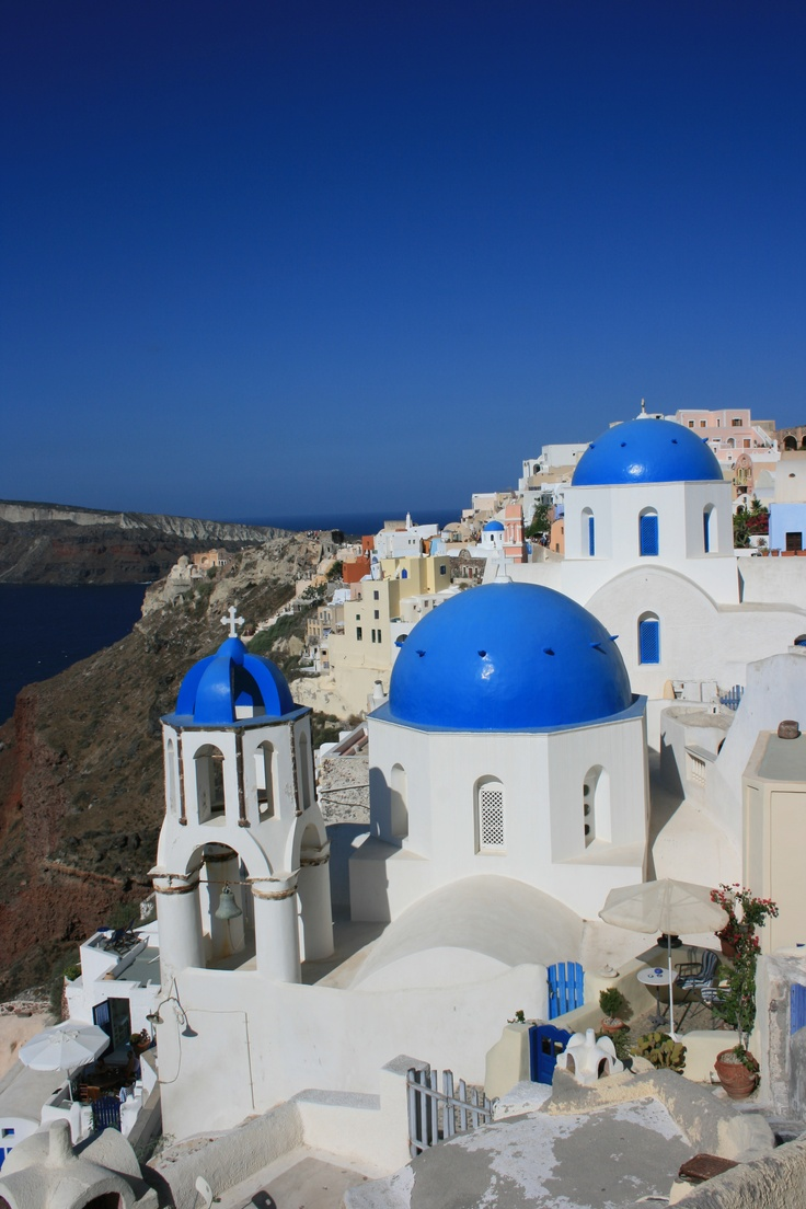 The dazzling blue and white of Santorini.