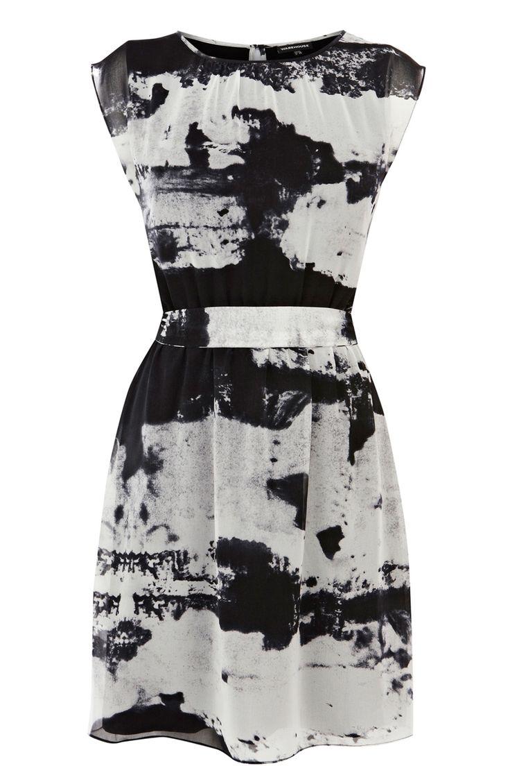 Abstract Landscape Print Dress - monochrome printed pattern fashion // Warehouse