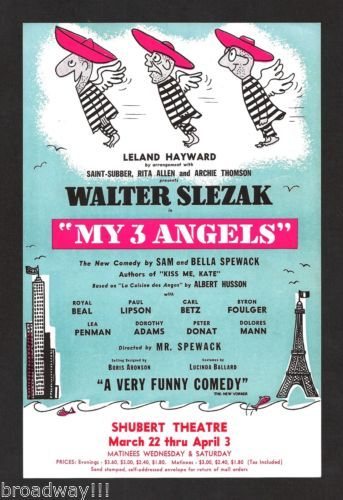 "Walter Slezak ""My 3 Angels"" Royal Beal Peter Donat 1954 Chicago Flyer 