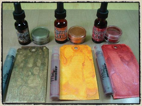 """a tutorial BY TIM HOLTZ!! He shows you how to make your own """"pearlized-distress"""" mist solution"""