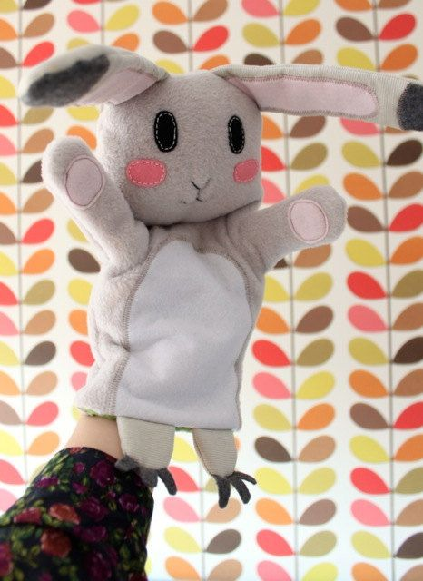 White rabbit hand puppet by StitchedCreatures on Etsy