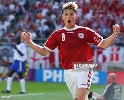 Group stage,Jon Dahl Tomasson celebrates his goal,Denmark beat France 2-0