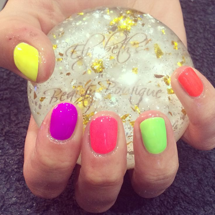 All the neons #gelish #nailharmony