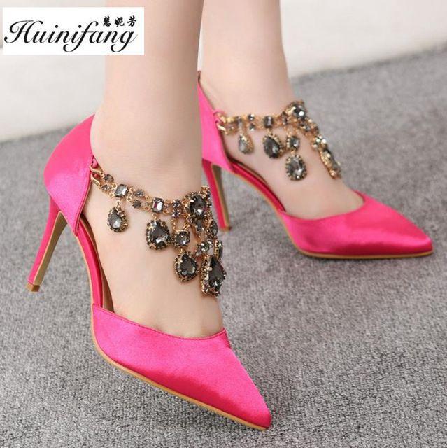 Grande tamanho 41 43 sexy Strass sapatos de salto alto com tira no tornozelo Mulheres Sapatos Cor de Rosa, Casamento sapatos vermelhos sapatos de Marcas Doce bombas de sapatos de Festa