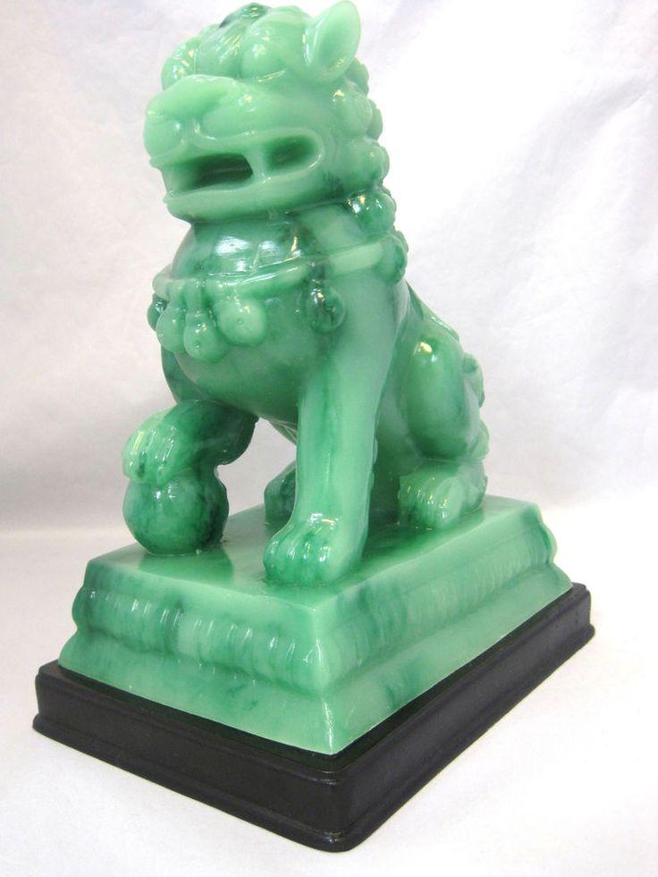 Foo Fu Lion Dog Chinese Guardian Lion Figurine Statue Jade Green Color