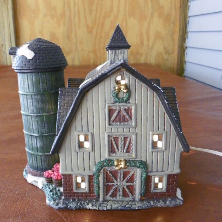 Owell Christmas Village Farmhouse Barn with Silo Lighted On/Off Switch