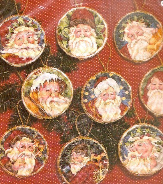 Natale cross stitch 90s Vintage Santa ornamenti Janlynn numero 12555 vacanza St Nick Xmas Decor fai da te kit progetto
